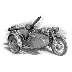 pen and ink illustration – historic motorbike
