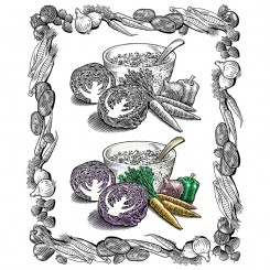pen and ink food beverage salad border