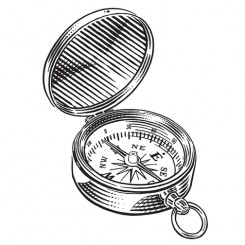 engraving graphic image compass