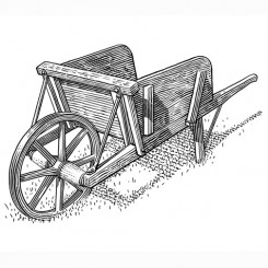 engraving motley wheelbarrow