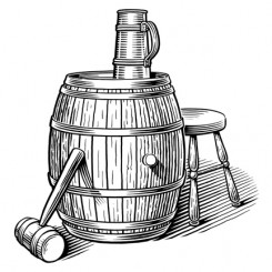 engraving motley beer barrel