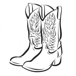line art graphic image cowboy boots