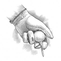 line art golf glove ball tee