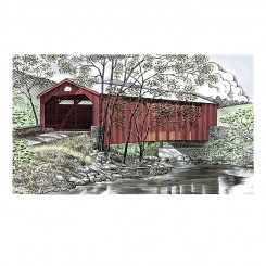 pen and ink landscape covered bridge