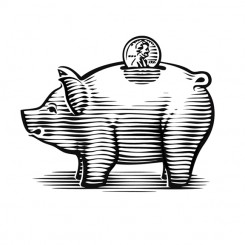 line art graphic image pig bank