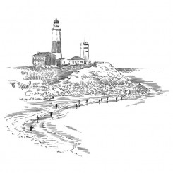 pen and ink landscape buildings lighthouse