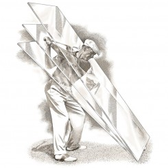 pen and ink sports ben hogan plane of glass golf swing
