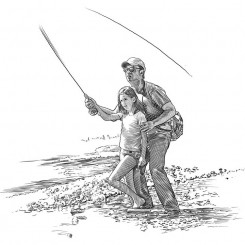 pen and ink sports fly fishing technique