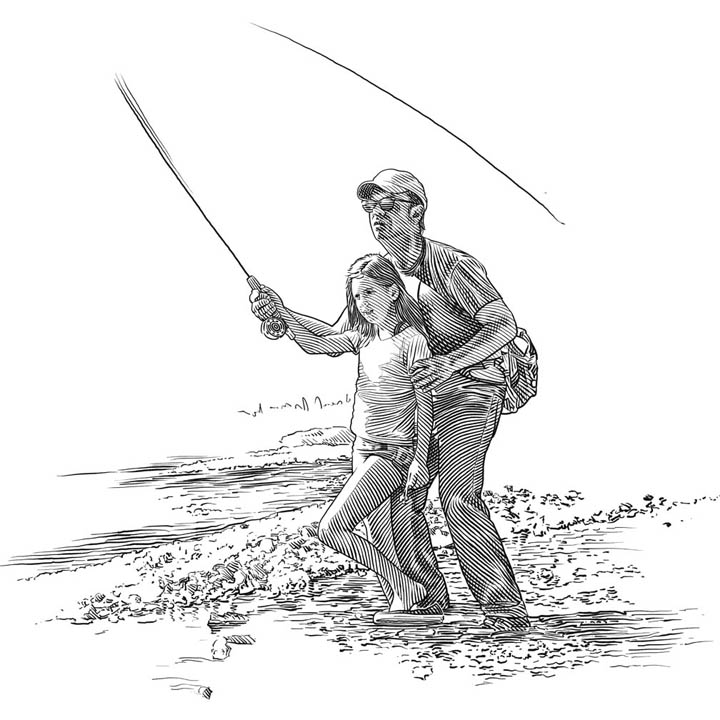 fly fisherman drawing - photo #14
