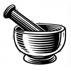 scratchboard graphic image mortar pestle