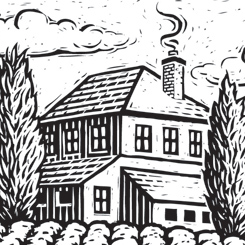 scratchboard landscape buildings farm land