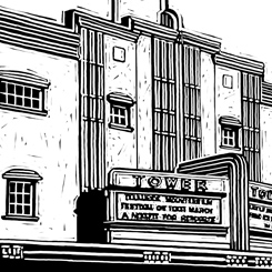 scratchboard landscapes buildings tower theater