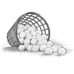 range golf balls pen and ink sports