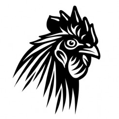 line art graphic image rooster