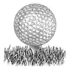 line art motley golf ball tee