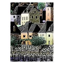 scratchboard building landscapes seaside village