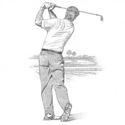 pen and ink sports golf swing follow through