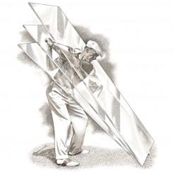pen and ink sports ben hogan plane of glass golf swing